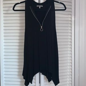 Charlotte Russe black tank top with a quarter zip